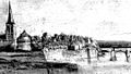 Maastricht, Wycker Oeverwal, gezien vanuit het noordwesten, met Sint-Maartenskerk en kruittoren (A Schaepkens, ca 1840-'50, collectie Bonnefantenmuseum) - detail.jpg