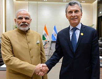 Argentina–India relations - Prime Minister Narendra Modi and President Mauricio Macri meeting in September 2016.