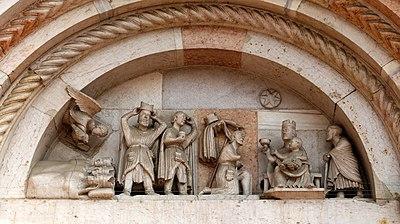 Sogno e Adorazione dei Magi, Portale dell'Abbazia di San Mercuriale, a Forlì (XI-XII secolo)