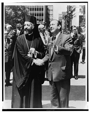 Cyprus–United States relations - Mayor Robert F. Wagner, Jr. greets Archbishop Makarios at City Hall