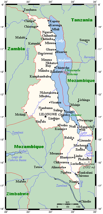 Geography of Malawi - Malawi's cities, towns and larger villages