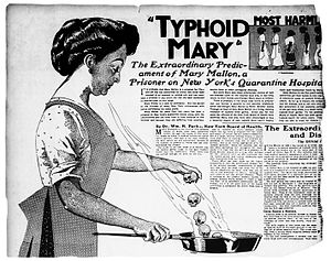Mary Mallon - Typhoid Mary in a 1909 newspaper illustration. Note the skulls she casts into the skillet.