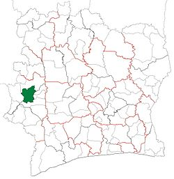 Location in Ivory Coast. Man Department has had these boundaries since 2005.