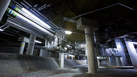 Vibration dampers / isolation bearings underneath the main auditorium. Manchester-hidden-spaces-workshop 06.09.2014 0773.jpg