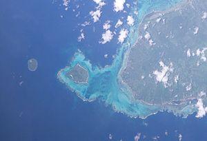 Manono Island - Satellite image of Manono island with Upolu to the east and tiny Apolima island to the west (NASA photo)