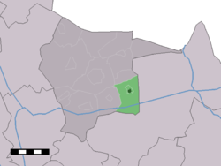 The town centre (dark green) and the statistical district (light green) of Reutum in the municipality of Tubbergen.