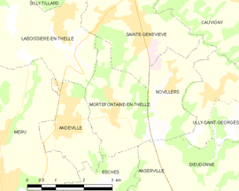 Mapa obce Mortefontaine-en-Thelle