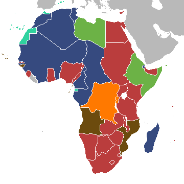 Map of Africa in 1939