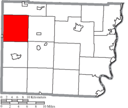Location of Kirkwood Township in Belmont County