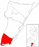 Lower Township highlighted in Cape May County. Inset map: Cape May County highlighted in the State of New Jersey.