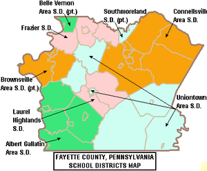 Brownsville, Pennsylvania - Map of Fayette County, Pennsylvania public school districts showing  a portion of Brownsville Area SD in orange
