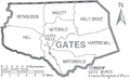 Map of Gates County North Carolina With Municipal and Township Labels.PNG
