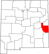 Map of New Mexico highlighting Roosevelt County