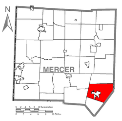 Location of Pine Township in Mercer County