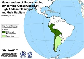 High Andean Flamingos Memorandum of Understanding - Map of signatories to the High Andean Flamingos MoU, as of 15 August 2012