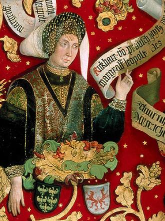 Richardis of Sualafeldgau - Richardis depicted on the family tree of the Babenberg dynasty, Klosterneuburg Monastery (1489-1492)