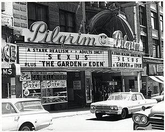 Combat Zone, Boston - The Pilgrim Theater, 1960s. City Censor, City of Boston
