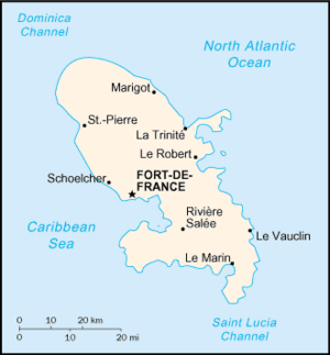Invasion of Martinique (1809) - Map of Martinique
