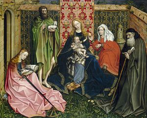 Mystic Marriage of St. Catherine (Memling) - Robert Campin, Virgin and Child with Saints in an Enclosed Garden, c. late 14th century – early 15th century