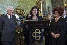 Laura Boldrini con il presidente della Repubblica Sergio Mattarella appena eletto nel 2015.