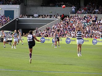 Matthew Pavlich - Matthew Pavlich kicks for goal during the AFL game between Fremantle Dockers and Geelong in 2010, which Fremantle won