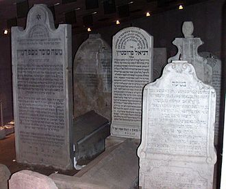 Grave - Interior of the Jewish memorial in Bratislava, Slovakia (with the grave of the rabbi Chatam Sofer at the left).