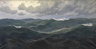 The Oceanides - Großes Marinestück by Max Jensen (c. 1880), which depicts a stormy sea reminiscent of the one Sibelius creates musically in The Oceanides