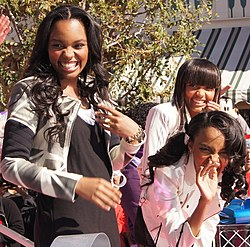 Thriii performing at the 2011 Disney Parks Christmas Day Parade, from left to right: Sierra McClain, China Anne McClain, Lauryn McClain