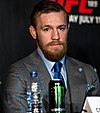 Conor McGregor speaking at a press conference in 2015
