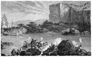 Médine, Mali - Eugene Mage's view of the lifting of the siege of Fort du Médine, from Voyage dans le Soudan occidental (1868).