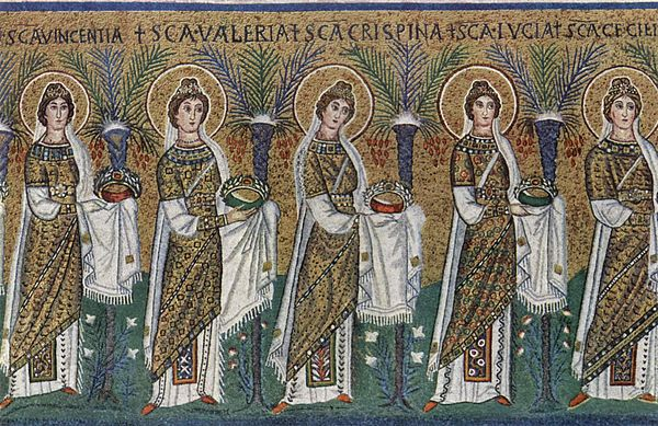 Procession of virgin martyrs bearing wreaths (master of Sant'Apollinare Nuovo, 6th century) Meister von San Apollinare Nuovo in Ravenna 002.jpg