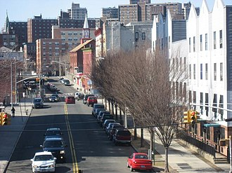 Melrose, Bronx - Looking west across St Ann's Avenue and along East 156th Street