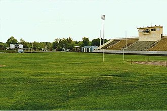 Great Falls High School - Looking southeast across the field at Memorial Stadium in 1988.
