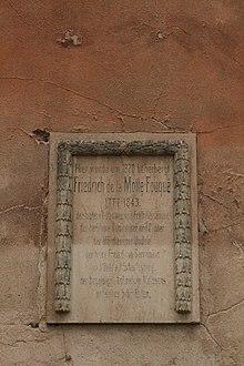Memorial plaque to Friedrich de la Motte Fouqué in Meissen (Source: Wikimedia)