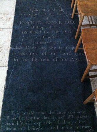 Edmund Keene - Memorial to Bishop Edmund Keene in Ely Cathedral