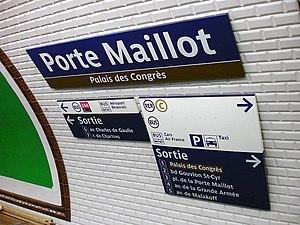 Porte Maillot (Paris Métro) - Image: Metro de Paris Ligne 1 Porte Maillot 15