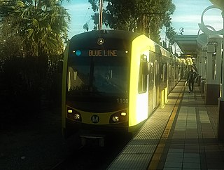 Blue Line (Los Angeles Metro) light rail line running north-south route between Long Beach and downtown Los Angeles