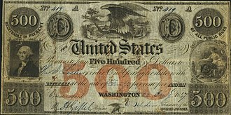 Treasury Note (19th century) - United States Treasury Note issued during the Mexican–American War