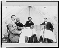 Mexican Peace Commissioners José María Pino Suárez, Dr. Vazquez Gomez, Francisco I. Madero, and Judge Carbajal seated around table, during the Mexican Peace Commission at Ciudad Juarez, LCCN97508873.jpg