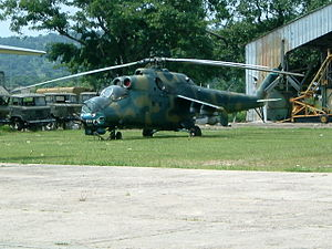 Air Force of the Democratic Republic of the Congo - A Congolese Mil Mi-24 attack helicopter photographed in 2005