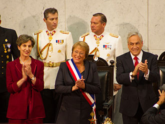 President of Chile - President Michelle Bachelet with presidential sash and the O'Higgins Pioche, 11 March 2014