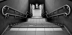 A straight flight of stairs, at Porta Garibald...