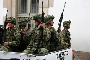 Military police - Military Police of Colombia during a practice event in Zipaquirá, Cundinamarca.