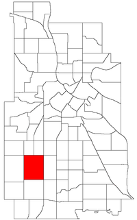 Location of East Harriet within the U.S. city of Minneapolis
