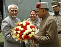 Mohd. Hamid Ansari being welcomed by the Governor, Himachal Pradesh, Ms. Urmila Singh and the Chief Minister of Himachal Pradesh, Shri Prem Kumar Dhumal on his arrival, at Annadale Helipad, in Shimla on May 18, 2010.jpg