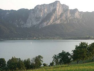 Mondsee (lake) - With Drachenwand mountain in the background
