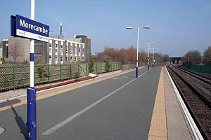 Morecambe railway station - View from terminus end of Morecambe platforms, 2009