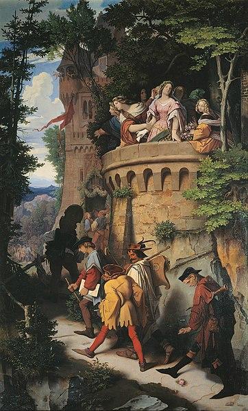 File:Moritz von Schwind - Die Rose oder Die Künstlerwanderung - Google Art Project.jpg