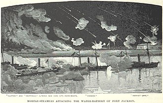USS Westfield (1861) - Westfield (second from left) bombards Fort Jackson with the other mortar steamers