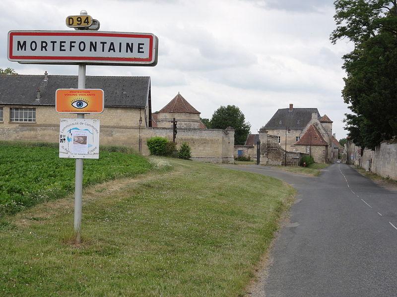 Mortefontaine (Aisne) city limit sign